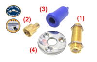 Connectors - RA105U - PL-258 GOLD BARREL CONNECTOR, WITH DECK MOUNT PL-259 CONNECTOR, PLASTIC CONNECTOR COVER AND CHROME FLANGE