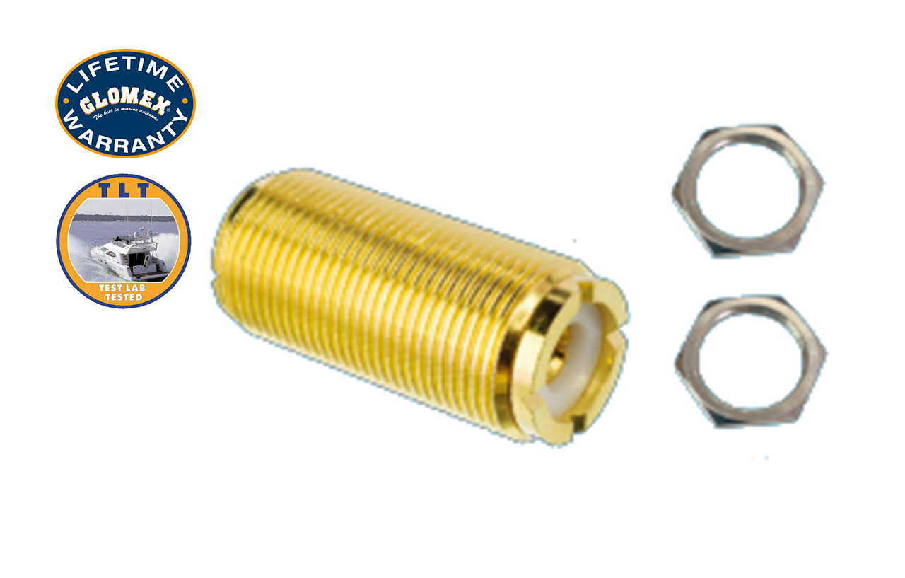 Connectors - RA133GOLDU - GOLD PL-258 BARREL CONNECTOR WITH 2 NUTS