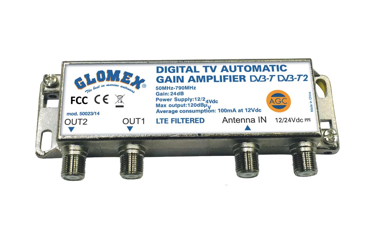 Glomex DVB-T2 TV Full HD 14 Marine Omnidirectional Antenna w//Automatic Gain Control